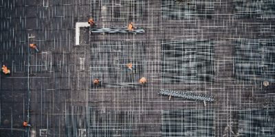 Construction workers at work from a birds eye viewpoint